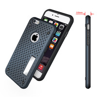Made in China Heat Radiation PC TPU Hybrid Combo Mesh Stand Case For iphone 7