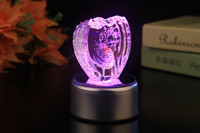 customer design elegant wedding gift 3d laser engraving crystal heart award