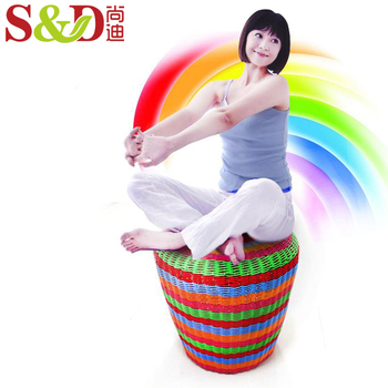 shangdi home goods colorful handmade PE rattan round ottoman storage bar foot stool