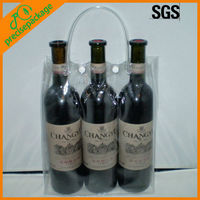 Clear pvc plastic wine bags for 3 bottles