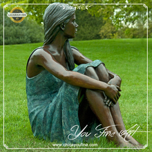 Life Size Garden Woman Bronze Sculpture For Sale