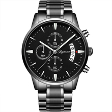 Black alloy stainless steel back japan movt quartz automatic wrist watch men