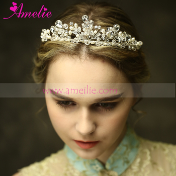 Silver Color Pearls and Crystal Victorian Wedding Tiara Crown Headband