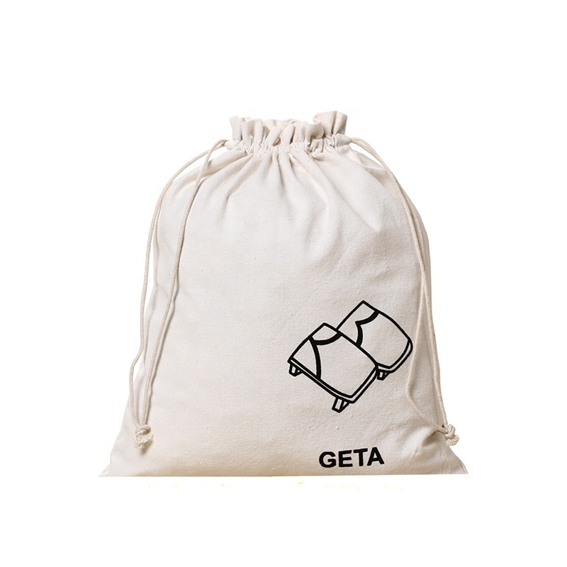 New Style Wholesale Custom Gift Promotion Durable Cotton Muslin Canvas Drawstring Bag with Printed logo