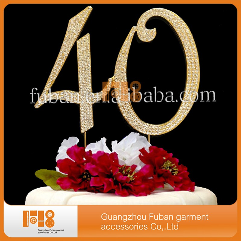 50 Gold Rhinestone Cake Topper - Fifty 50th Birthday Anniversary Decoration