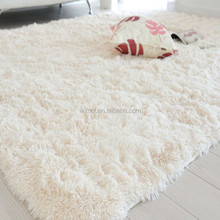 Long pile shaggy microfiber polyester white fur carpet