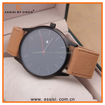 Curren style vogue simple leather strap watch , japan movt with custom made in china