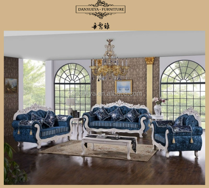 Living Room Furniture Classical Solid Wood Frame Fabric