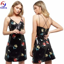 New fashion women black sexy party bodycon floral embroidered sequin slip dress