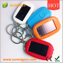 Plastic Solar Flashlight Torch With Keychain For Gift Promotion