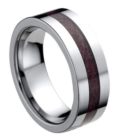 8mm engagement wedding band koa wood black tungsten ring