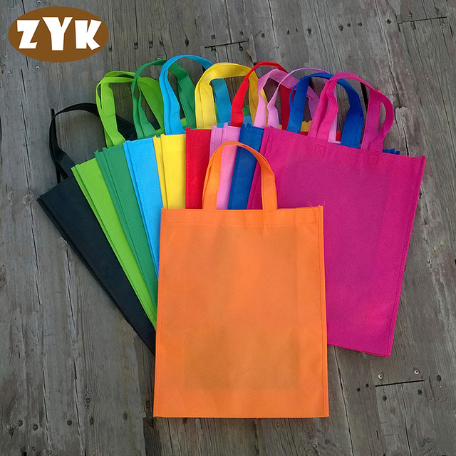 30*38*10cm Eco Reusable Shopping Bags Random Cloth Fabric Grocery Packing Recyclable Bag Simple Design Tote Handbag