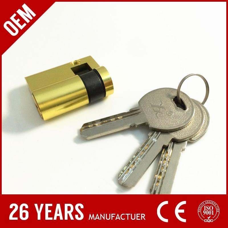 2016 best sell aluminium anti-drill dimple flat pin cylinder lock with gold