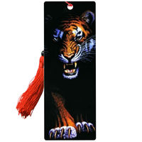 Hot selling animal tiger Plastic 3d lenticular bookmark with tassel