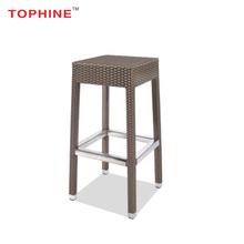 TOPHINE Furniture Contemporary Aluminium Frame Wicker Woven Counter Height Bar Stool