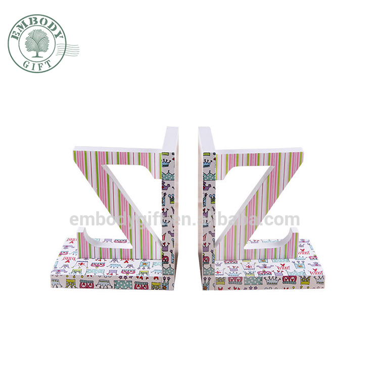 simple decorative wooden letter Z&Z colorful display reading bookends