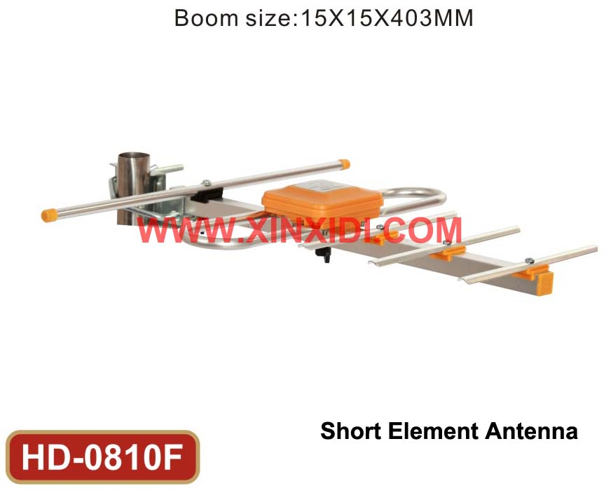 Short Element Outdoor Antenna HD-0810F_Yellow Color and Mini Design_UHF Reception