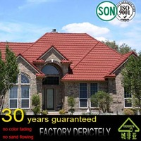 cheap high quality Buliding materials red stone-coated metal roof tiles
