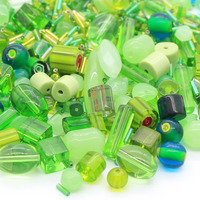 Mixed pressed green glass beads with seed beads