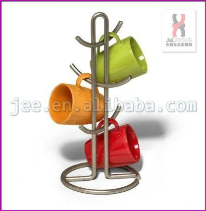 Metallic Revolving Countertop Coffee Mugs Tree Display Holder/Household Kitchen Plastics Coffee Cup Display Rack and Stand