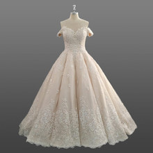 Alibaba Wedding Dress Bridal Ball Gown Princess Bride Champagne Women Dresses with Off the Shoulder