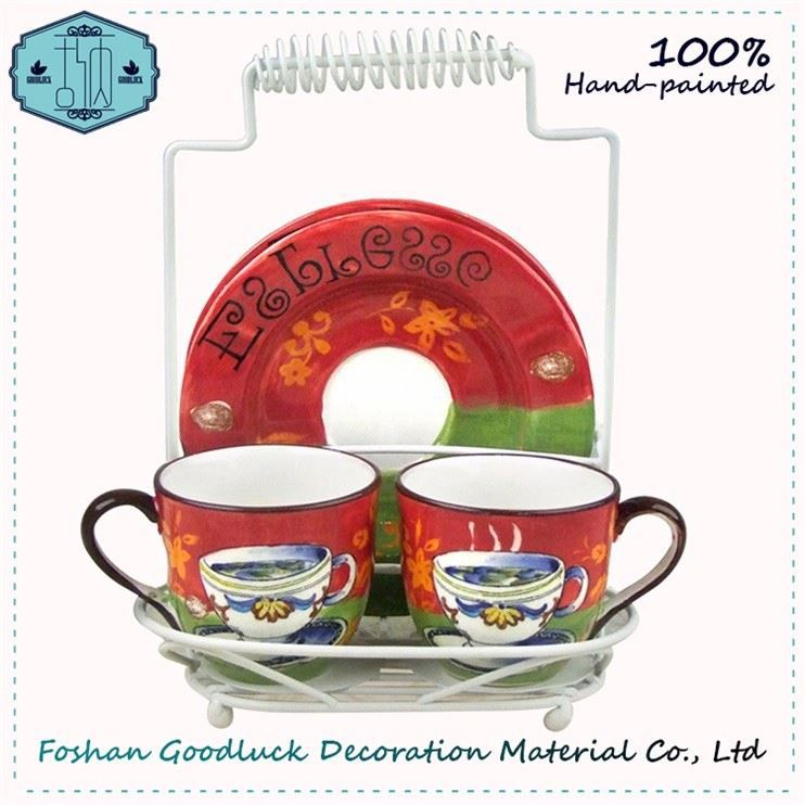 Pastoral Style Hand Made Ceramic Red Tea Cup Saucer Packaging