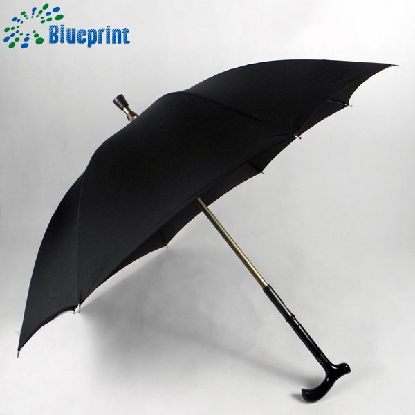23 inch solid black color straight crutch umbrella for old men