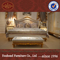 0067 European elegant bedroom furniture set, luxurious golden king size bedroom set