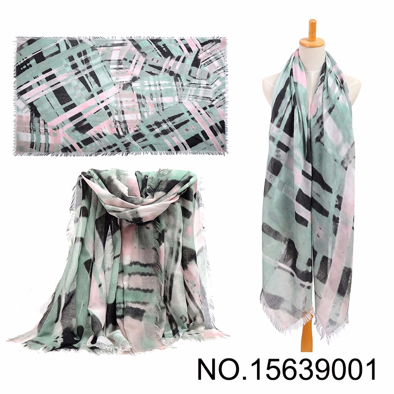 Green Long Viscose Abstract Stripe Scarf
