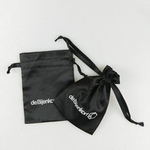fashionable design black satin drawstring jewelry bags with logo