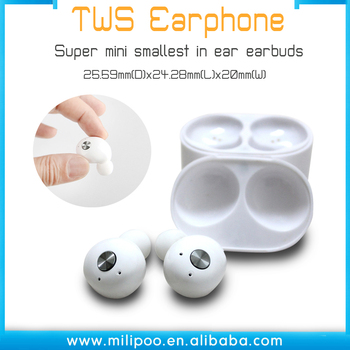 Wireless TWS Earbuds with Portable charger Mic. Smallest Cordless Hands-Free In-Ear Earphones Headsets with Noise Reduction