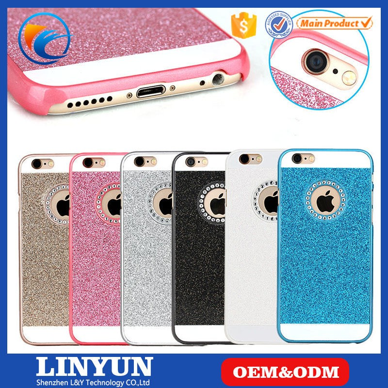Hot Selling High Quality 6 Colors Avaiable Rhinestone Bling PC Back Cover Case for iPhone 6/6s with Logo Hole