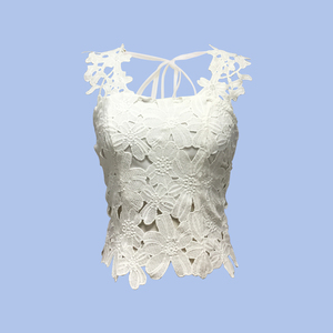 Fashion Collection 100% Cotton Women Elegant Daily Wear Party Wear Sleeveless Zip Back White Color Flower Lace Blouse Top