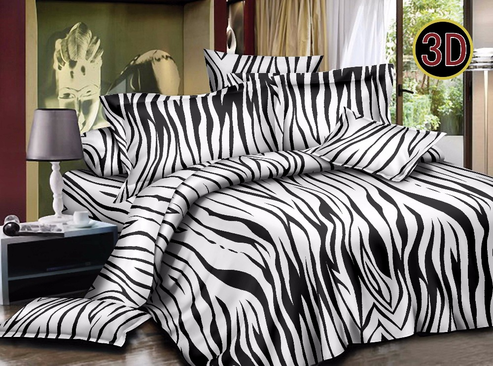 cheap 4 pieces Zebra pattern or customized printing bedding set