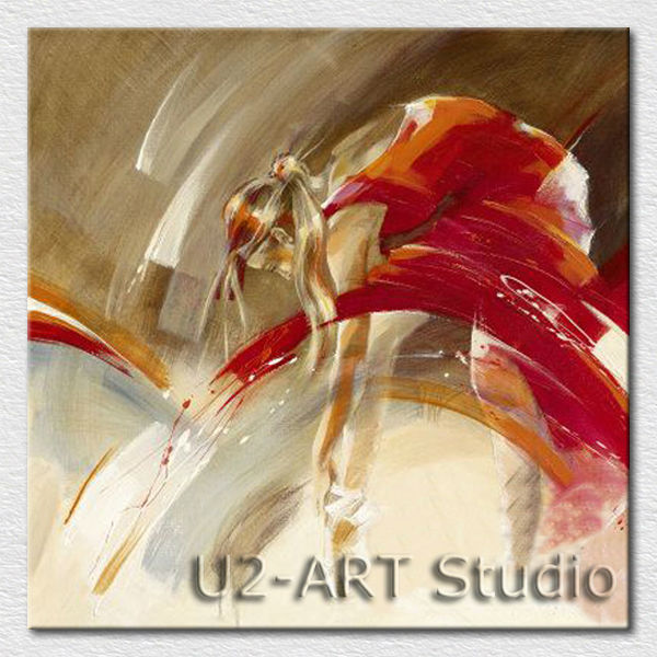 Beautiful abstract red dancer oil painting for bedroom wall <strong>decoration</strong>