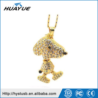 Ladies' Loving Dog 16GB 32GB 64GB USB 3.0/3.1 Jewelry USB Thumb Drive with Necklace