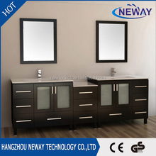 American style double basins solid wood chinese modern bathroom vanity