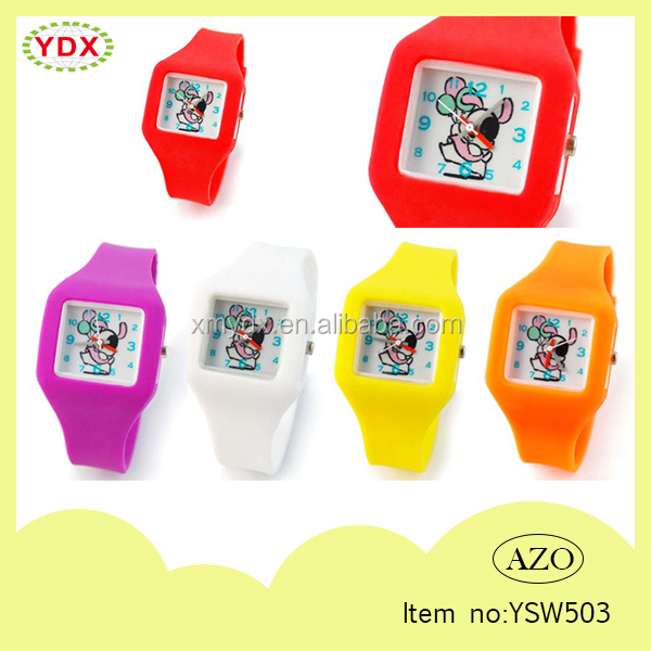 Cheap eco friendly colorful wholesale kids rubber watches silicone