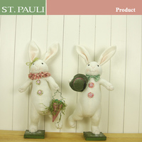 easter holiay decorations suppliers 16 inch tall country style stuffed plush white rabbit toy