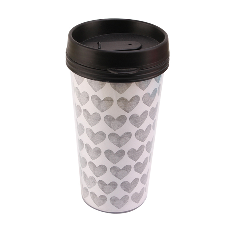 Double wall acrylic plastic tumbler with removable paper insert and lids