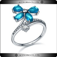 2015 Aceworks Flower Sterling Silver Aquamarine Four Stone CZ Ring