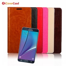 Luxury Business Phone Accessories Crazy Horse Genuine Leather Wallet Case for Samsung Galaxy Note 5 Cover Couqe Fundas