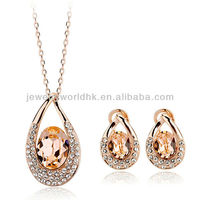 Authentic Austrian champagne crystal 18k gold plated grace lady necklace earrings jewelry set