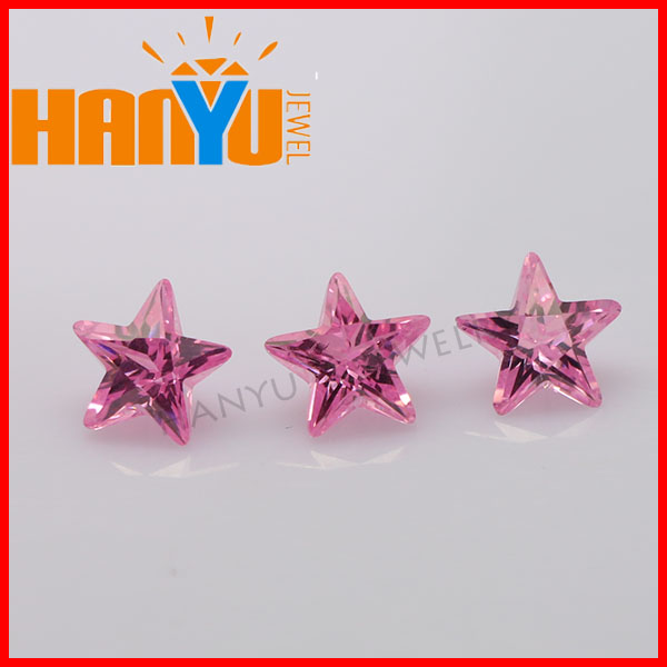 2014 High quality cubic zirconia stone star pink cz lose gems