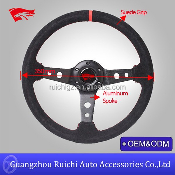 China Supplier for 350mm Wide 60mm Deep Dish Black Suede American Racing Steering Wheels