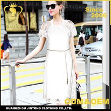 Wholesale summer dress White Short Sleeve Elegant Lace Maxi Dresses For Women Clothing