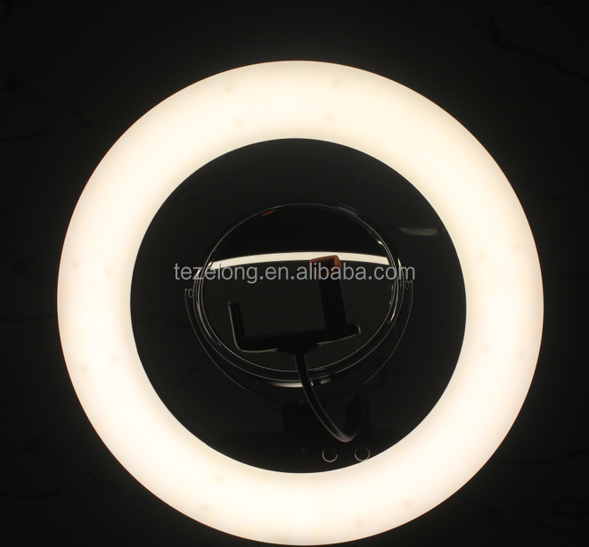 "Bi-color Dimmable LED lamp photography ring light video 18"" LF-R480 with Tripod Stand Mirror for Makeup Camera Phone"