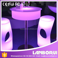 Factory Direct High quality LED Round Bar Table.LED Coffee Table