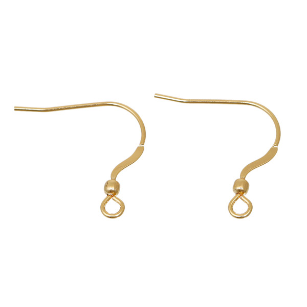 Stainless Steel Ear Wire Hooks Earring Findings Gold Plated W/ Loop Earring Design