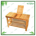 2 Tier bamboo storage shelf footstools